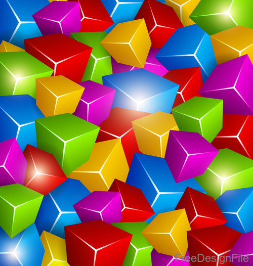 Colored 3D cube background vectors