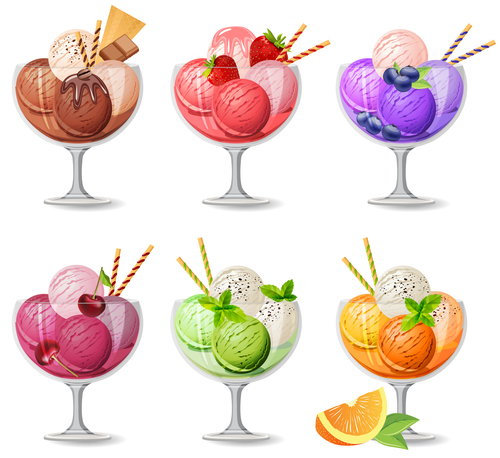 Colored Ice cream with glass cup vector