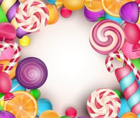 Colored candies frame vectors 01