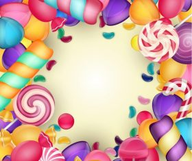 Colored candies frame vectors 02