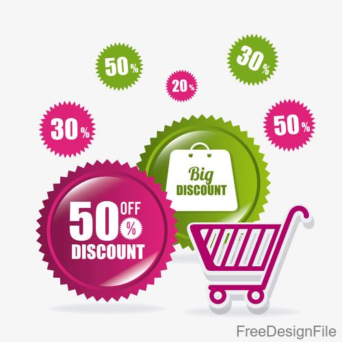 Colored discount badge vector design