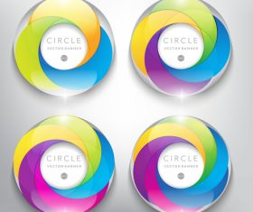 Colored glass with circle banners vector