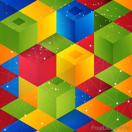 Colorful 3D shape abstract background 01