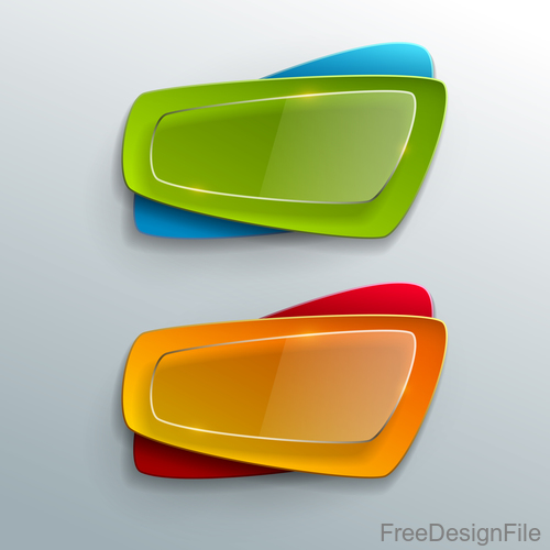 Colors banners with transparent glass vector