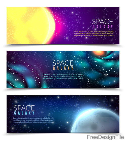 Constellations space galagy banners vector