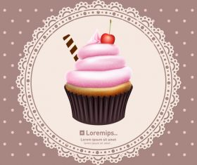 Cupcake with circle lace vector