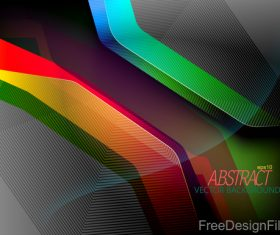 Curve colors shape with black background vector 01
