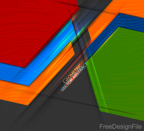 Curve colors shape with black background vector 05