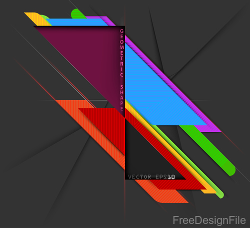 Curve colors shape with black background vector 02