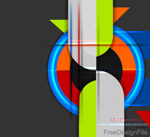 Curve colors shape with black background vector 04