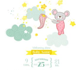 Cute baby card with cartoon mouse vector 02