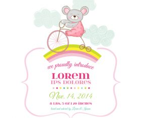 Cute baby card with cartoon mouse vector 04