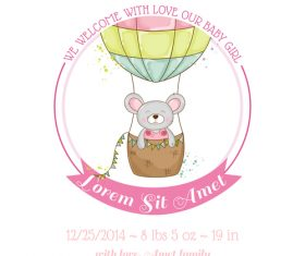 Cute baby card with cartoon mouse vector 05