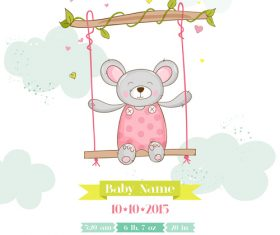 Cute baby card with cartoon mouse vector 06