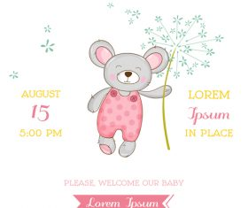Cute baby card with cartoon mouse vector 07