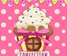 Cute cake background design vector