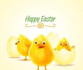 Cute chick with easter backgorund vector