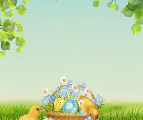 Cute chick with easter background and wood board vector
