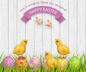 Cute chicks with easter wood wall background vector
