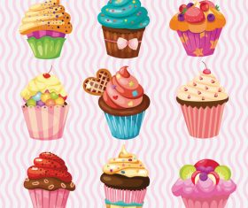Cute cupcake vector design 01