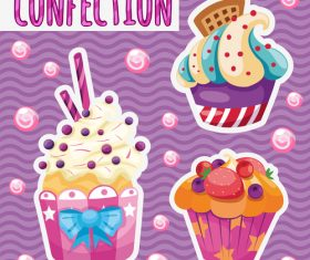 Cute cupcake vector design 02