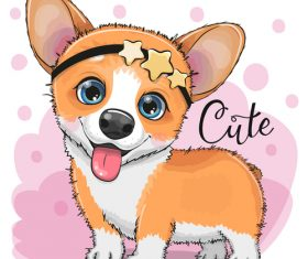 Cute dog with accessories stars vector
