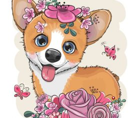 Cute dog with flower vector
