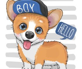 Cute dog with hat vector