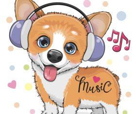 Cute dog with music vector