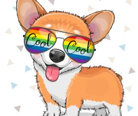 Cute dog with sunglasses vector