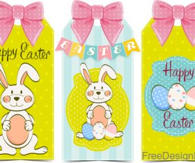 Cute easter card with pink bows vector