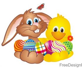 Cute rabbit with chick easter illustration vector 01