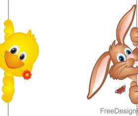 Cute rabbit with chick easter illustration vector 04