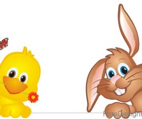 Cute rabbit with chick easter illustration vector 05