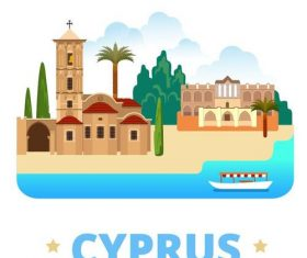 Cyprus travel elements design vector