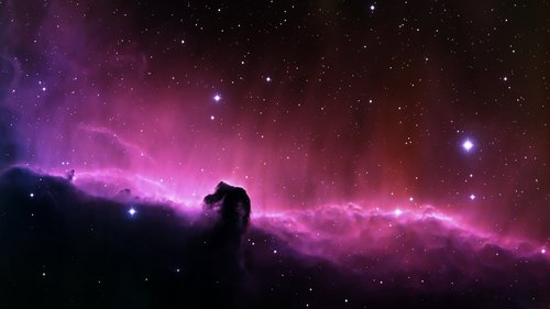 Dark Nebula in night sky Stock Photo