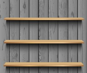 Dark wood wall background with shelf vector