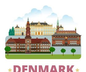 Denmark travel elements design vector