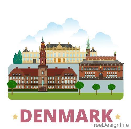 Denmark travel elements design vector