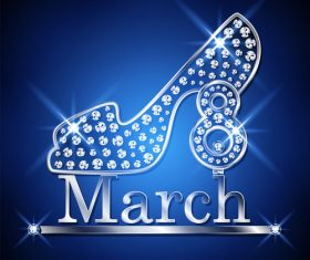 Diamond high heels with 8 March women day vector