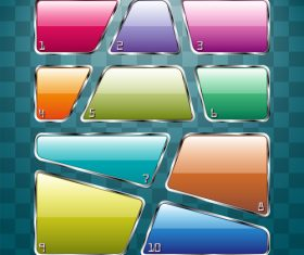 Different shape glass banners colored vector