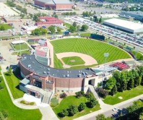 Drone aerial photography baseball field Stock Photo 01