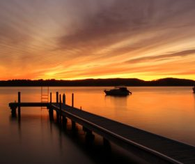 Dusk view of Lake Macquarie Carre Bay Stock Photo