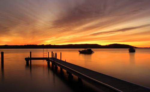 Dusk view of Lake Macquarie Carre Bay Stock Photo