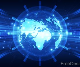 Earth with electric technology background vector 03