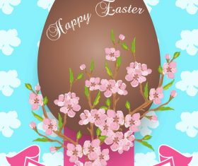 Easter background with brown egg vector 01