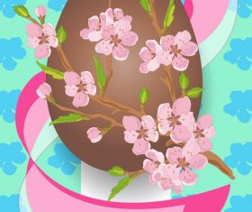 Easter background with brown egg vector 02