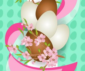 Easter background with brown egg vector 03