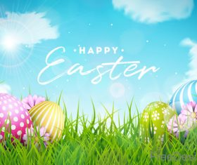 Easter background with sky and grass vector