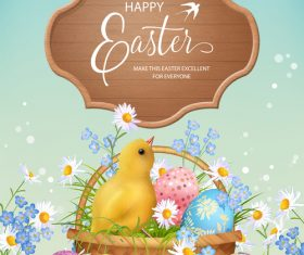 Easter background with wooden board vector 01